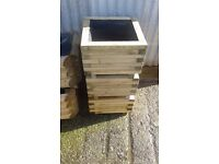Square Solid Wood Treated Garden Plant Tubs - Set of 3