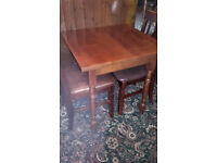 SOLID WOODEN 2 SEATER TABLE WITH 2 CHAIRS