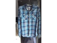 Men's Superdry checked shirts, red & blue