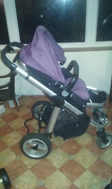 i candy apple pushchair with carrrycot and maxicosi adapters