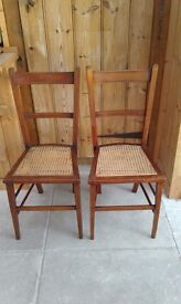 PAIR OF WOODEN CANE SEAT CHAIRS EDWARDIAN VINTAGE INLAY STRINGING BEDROOM OCCASIONAL PRETTY