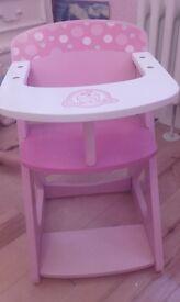 pink wooden dolls high chair