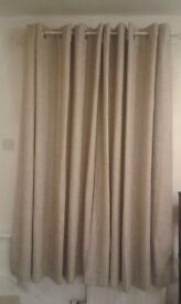beige/grey curtains 2 pairs plus 2 cushions