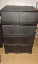 Black Stackable DVD Storage Drawers x 4 - each holds 40 DVD's