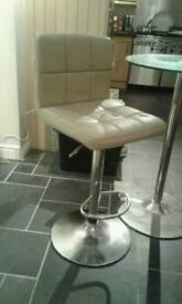 Faux Leather Mink Stools and Glass Bar Table