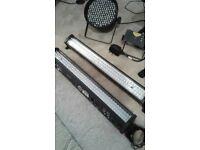 2 American ADJ Mega Bar 50 :2 ADJ Micro Galaxian Lasers Lights :1 Led Spot Light. DJ Lighting