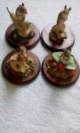 SET OF 4 BORDER ARTS MICE ON FRUIT - SIGNED AYRES