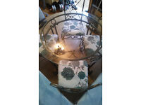 Table and chairs, metal craftwork, crystal glass top, hand made, good condition