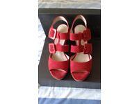 Red suede wedge heel sandal