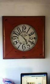 Very large Red metal wall clock from next.