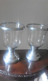 Stainless steel candle holder - matching pair - MATALAN