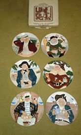 Set of 6 hand painted Davenport Orginal Toby display plates. 'As new' condition