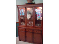 Tall glass display cabinet . Music/Hi Fi unit. Coffee Table. All matching