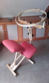 Bespoke Ergonomic Sewing Chair complete with embroidery frame