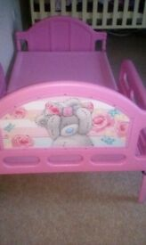 Childs pink me to you bear bed without mattress