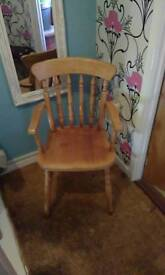 Pine chair with arms