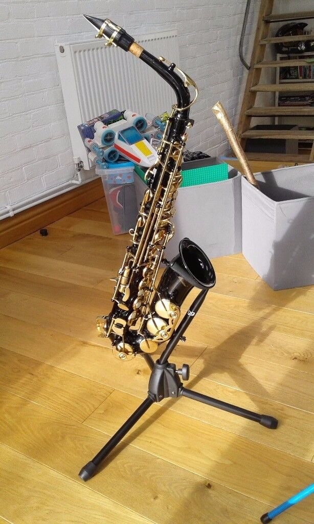 Black alto saxophone,in hard case with sax stand and music stand.