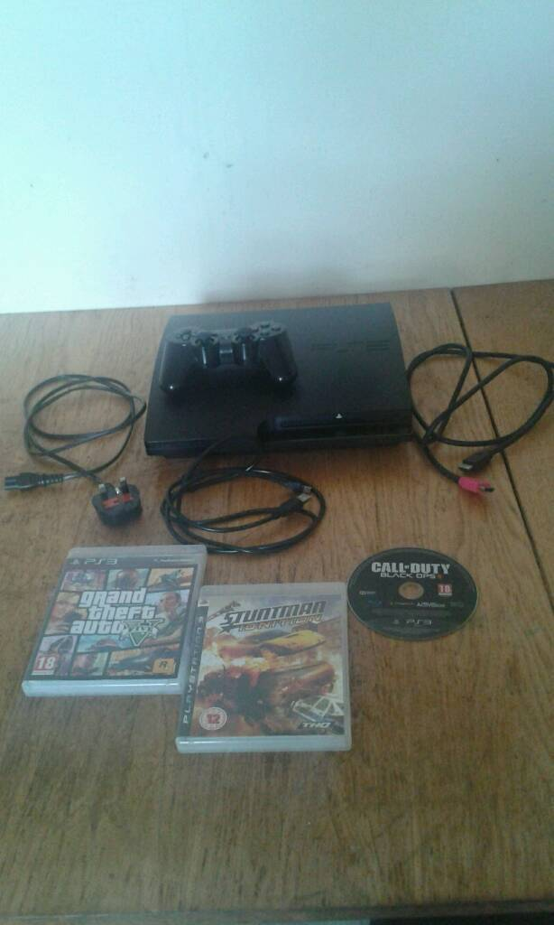 CHEAP PS3 SLIM 1 CONTROLER 6 GAMES ALL WIRESin Handsworth Wood, West MidlandsGumtree - CHEAP PS3 SLIM 360GB 1 CONTROLLER 6 GAMES AND ALL WIRES!!! MINT CONDITION! WORKS PERFECT! NO PROBLEMS! READY TO BE USED! THEIR IS 6 GAMES 3 ON DISC AND 3 ON THE CONSOLE! THE DISC GAMES ARE GTA 5 (V), CALL OF DUTY BLACK OPS 2, STUNTMAN IGNITION! THE...
