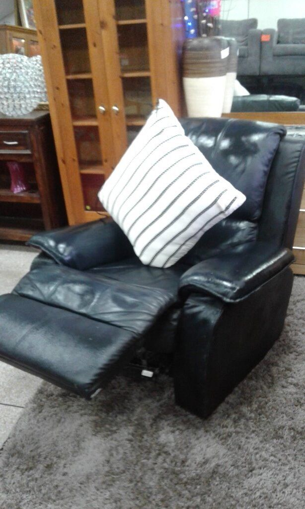 BLACK DFS REAL LEATHER CHAIR BARGAIN
