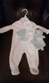 Tatty teddy baby grow and comforter set 3-6 months