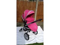 silver cross surf stroller in pink with liner, apron, rain cover, basket, bumper bar