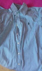 green/white ralph lauren shirt aged 10-12