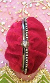 NEW BETH JORDAN DESIGNER BAG CLUTCH BAG HANDBAG Luxury Red Velvet Satin & Diamante SMALL PURSE PROM