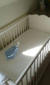 White Cot - Excellent condition. Includes 2 free mattresses both in good condition too