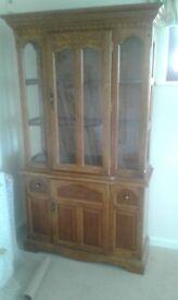 solid oak display cabinate
