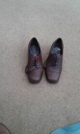Soft leather and hand stitched ladies Brown leather shoee size 4