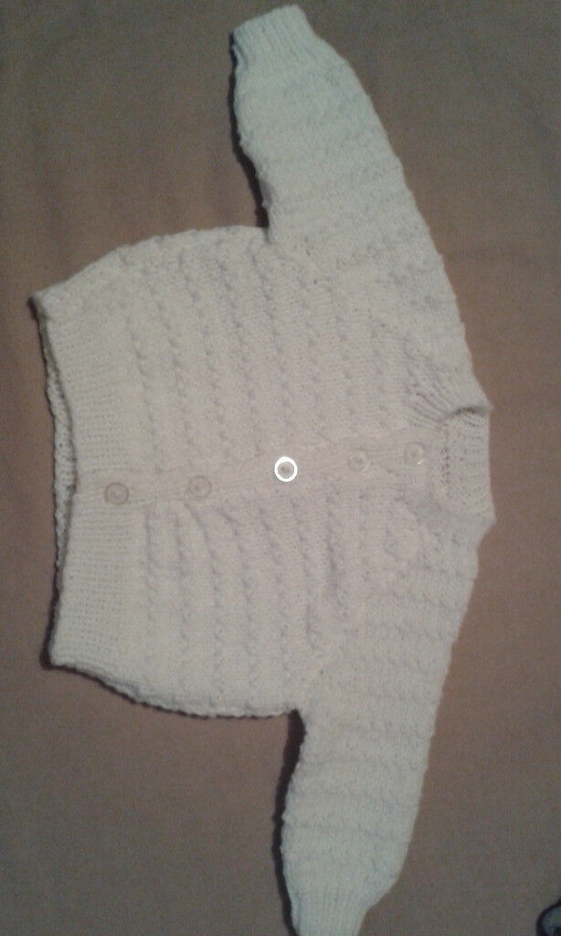 0-3 mnth Boy Girl White Knitted Cardigan