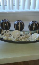 Pot Pourri Dish & 3 Matching Candle Holders