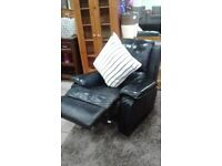 BLK REAL LEATHER RECLINER CHAIR CAN DLEIVER FREE