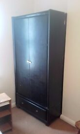 black faux leather wardrobe ( as good as new )