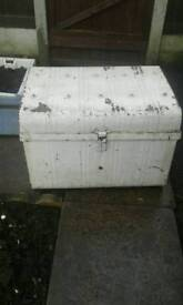 2 old metal chests