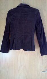 Ladies Brown Cord Jacket size 10