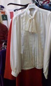 M&S tie neck cream blouse