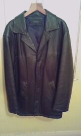 Mens large 3/4 black leather coat by AR MA
