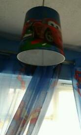 Disney cars ceiling light shade and curtain for sale.