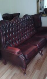 Winged leather 3 Seater sofa plus 2 matching chairs