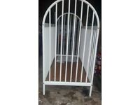 Metal framed cot bed, small surface marks otherwise good condition - no mattress, non pet/smoking