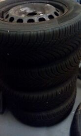 VW 5 stud 15 inch steel wheels with Continental winter tyres