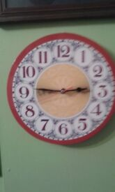 New handmade wooden battery wall clock.