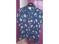 Ladies dark blue with cream flowers blouse