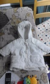 White hooded fleecy winter coat 0-3 months
