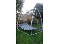 Double Garden Grey Swing Bed With Pillow. Grey Metal Frame. Offers Considered