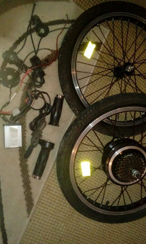 """Front and rear 20"""" wheels . electric bike , motor kit"""