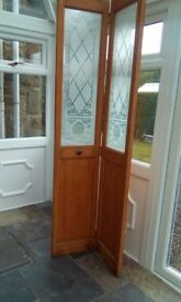 Bi-folding glazed door.