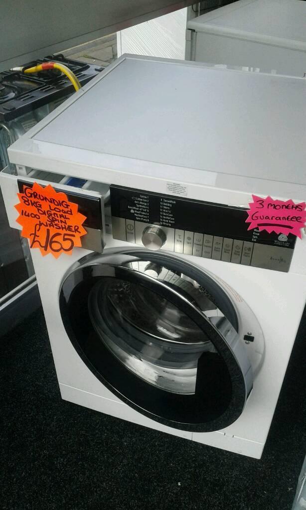 GRUNDIG WHITE 8KG LOAD 1400 SPIN DIGITAL WASHING MACHINE