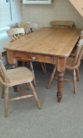 Large farmhouse country kitchen pine table and 6 beech chairs